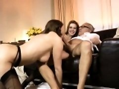Amateur babes in trio fucking old guy