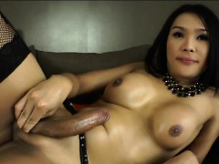 Ladyboy shemale Fanta strokes her shaft until she cums