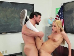 Real blonde takes cumshot