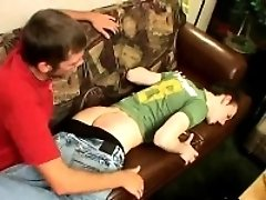 Skater hunk getting his ass slapped hard on the couch