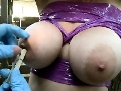Tied Blonde Girl with Big Tits Gets Her Nipples Clamped