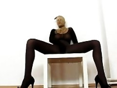Fuckable blonde bitch with nice slim legs and hot tits