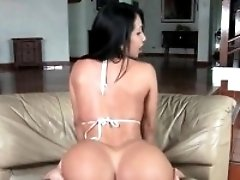 Fine ass brunette filled up with dick from behind