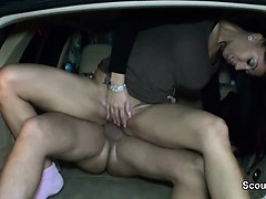 German Teen fuck outdoor in Car with Stranger in Public